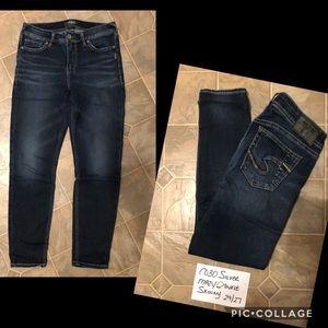 Silver Mazy Ankle Skinny Jeans